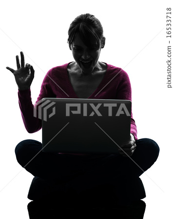 woman okay gesture computing laptop computer silhouette 16533718