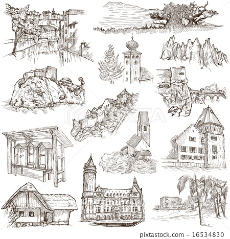 Architecture, Places - Pack of freehand sketches 16534830