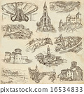 Architecture, Places - Pack of freehand sketches 16534833