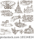 Architecture, Places - Pack of freehand sketches 16534834