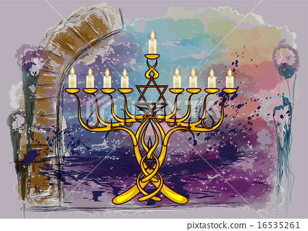 menorah with candles 16535261