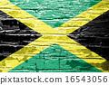 Jamaica Flag painted on grunge wood 16543056