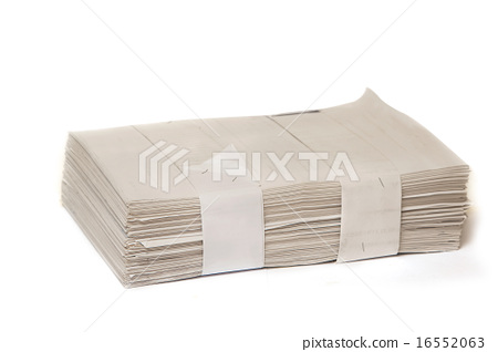 close up of stack of papers on white background 16552063