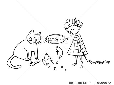 Girl And Cat Broken Vase Stock Illustration 16569672 Pixta