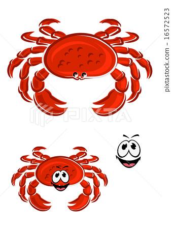 Red crab animal cartoon character 16572523