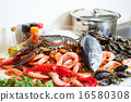 Fresh raw seafoods and fish in kitchen 16580308