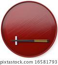 일식 그릇 주홍 색칠의 추석과 젓가락과 젓가락 16581793