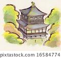 초가을의 은각사 손으로 그린 일러스트 16584774