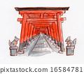 교토 후 시미이나 리 도리 손으로 그린 일러스트 16584781