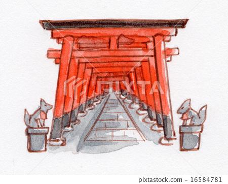 Kyoto Fushimi Inari shrine torii hand-painted illustration 16584781