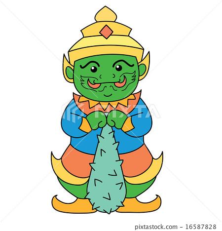 Thai giant green sculpture standing vector 16587828