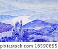 新天鵝堡城堡雪風景手寫歐洲城堡剪影 16590695