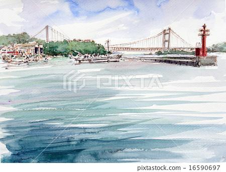 Shimotsui Port Seto Inland Sea handwritten sketch 16590697