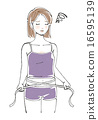 허리를 측정 고민하는 여성 일러스트 16595139