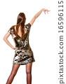 Elegant woman in evening sequin dress 16596115
