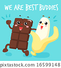 Chocolate and banana are best buddies vector . 16599148