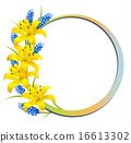 Flower background with yellow lilies and lavender 16613302