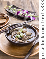 Beef Noodle Soup,Close up of a wooden bowl 16615833