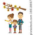 家人 觀賞秋天的樹葉 矢量 16618697
