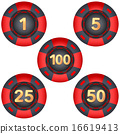 Set of gambling chips rated 16619413