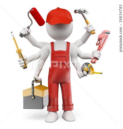 3d white people multitasking handyman stock 3d tool free