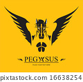 Pegasus Horse Head on the yellow background 16638254