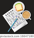Sudoku game with cup of coffee and sandwich 16647180