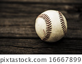 Baseball and mitt on rustic wooden background 16667899