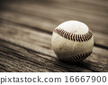 Baseball and mitt on rustic wooden background 16667900