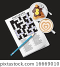 crossword game with mug of coffee and crepe 16669010