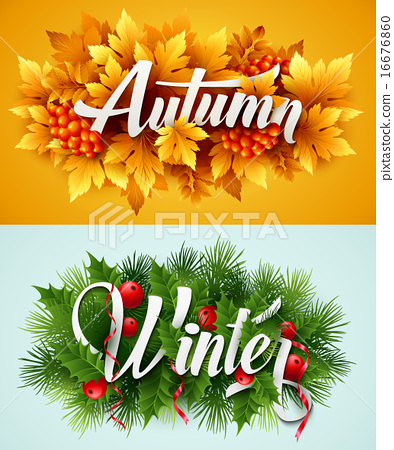 Auyumn and Winter Typographic Banner. Vector illustration 16676860