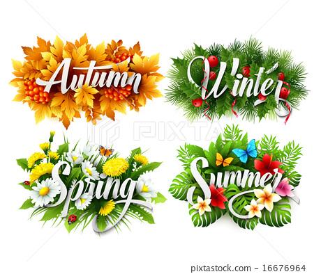 Four Seasons  Typographic Banner. Vector illustration 16676964