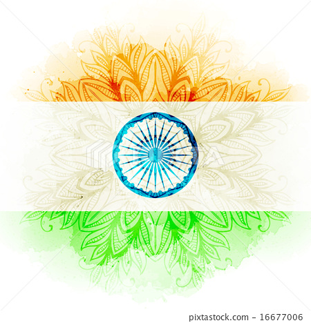 Vector Indian Flag In Watercolor Background Concept Indian