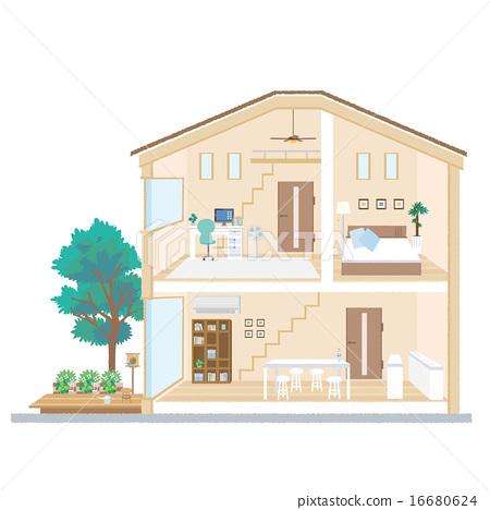 주택 단면도 작가 일러스트 16680624