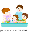 happy family cook healthy food together vector 16682632