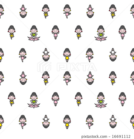 Vector Funny Cartoon Girls In Five Different Yoga Poses Seamless Pattern