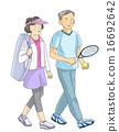 打網球的資深夫婦 16692642