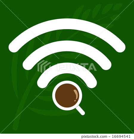 Coffee shop WiFi zone sign, Free Wi Fi. internet  16694541