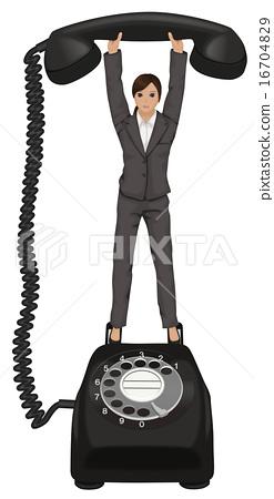 전화 기다리고 있습니다. 검은 전화 16704829