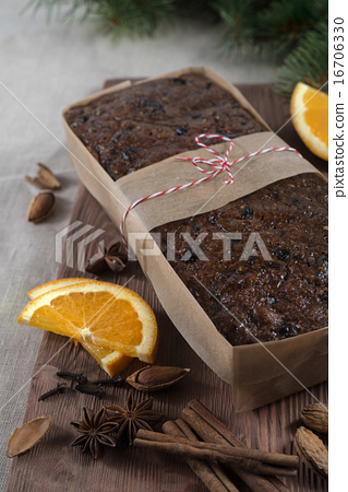 Christmas fruit cake pieces on board paper 16706330