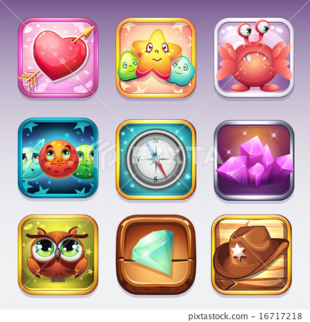 Set icons for app store and Google Play to computer games on various topics 16717218