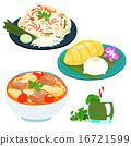 popular Thai sweet mango sticky rice set vector 16721599