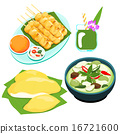 popular Thai green curry food set vector 16721600