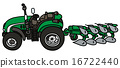 Green tractor with a plow 16722440