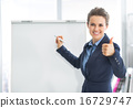 Smiling business woman near flipchart showing thumbs up 16729747