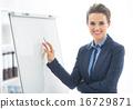 Portrait of happy business woman near flipchart 16729871