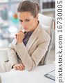 Portrait of thoughtful business woman in office 16730005