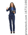 Full length portrait of smiling business woman with tablet pc sh 16731166