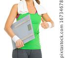sportswoman, scales, thumbs 16734678