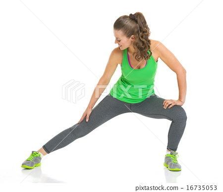 Fitness young woman stretching 16735053